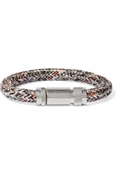 Acne Studios Jack Braided Cord And Silver Tone Bracelet Black