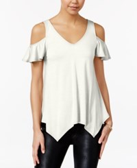 Almost Famous Juniors' Ruffle Sleeve Cold Shoulder Top Ivory