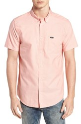 Rvca 'That'll Do' Slim Fit Short Sleeve Oxford Shirt Terracotta