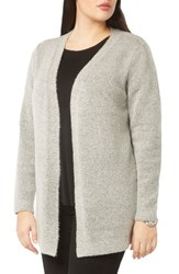 Evans Plus Size Women's Open Front Boucle Cardigan Grey