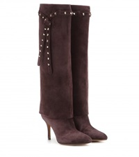 Valentino Embellished Suede Knee High Boots Brown