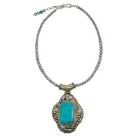 Dripping In Gems Tibetan Silver Boho Collection Rectangular Turquoise Stone