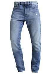 Pier One Jeans Tapered Fit Mid Blue Destroyed Denim