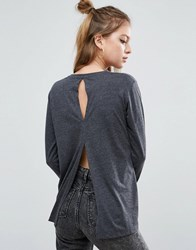 Asos T Shirt With Long Sleeves And Split Back Charcoal Grey