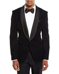 Boss Herringbone Shawl Collar Tuxedo Jacket Navy