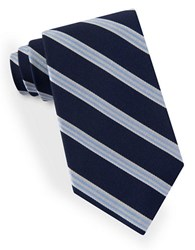 Lord And Taylor Racer Stripe Tie Navy