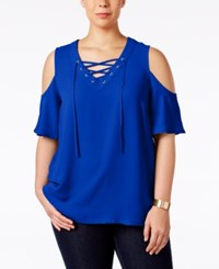 Inc International Concepts Plus Size Lace Up Cold Shoulder Top Only At Macy's Goddess Blue