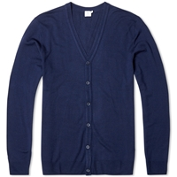 Sunspel Merino V Neck Cardigan Navy