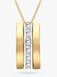 Ibb 9Ct Gold Cubic Zirconia Curved Pendant Necklace Gold