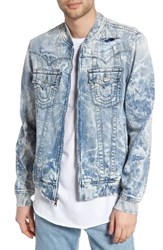 True Religion Men's Brand Jeans Jimmy Bleached Denim Bomber Jacket White Tide