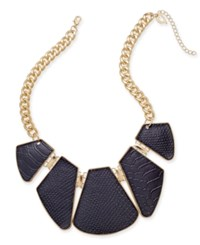 Thalia Sodi Gold Tone Snake Look Faux Leather Geo Statement Necklace Only At Macy's