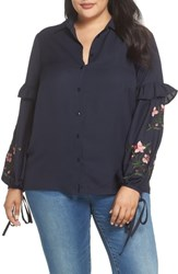 Lost Ink Plus Size Embroidered Sleeve Button Down Shirt Navy