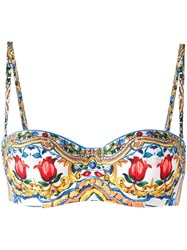 Dolce And Gabbana Majolica Print Balconette Bikini Top Multicolour