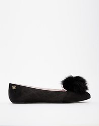 Ted Baker Iveye Black Pom Pom Slippers