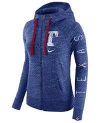Nike Women's Texas Rangers Gym Vintage Full Zip Hooded Sweatshirt Royalblue