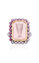 She Bee Rhodium Plated Topaz And Sapphire Ring Pink
