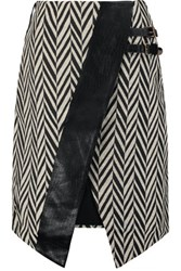 Self Portrait Asymmetric Faux Leather Trimmed Zigzag Jacquard Skirt Black