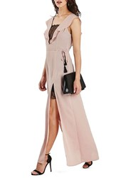 Topshop Women's Lace Trim Flutter Sleeve Maxi Dress