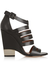 Givenchy Cutout Black Leather Sandals With Pale Gold Metal Heel