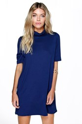 Boohoo High Neck T Shirt Dress Midnight