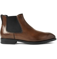 Tod's Burnished Leather Chelsea Boots Brown