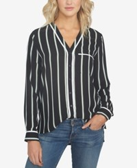 1.State Striped V Neck Shirt Rich Black