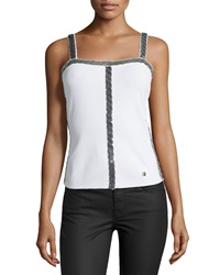 Versace Knit Tank With Beaded Trim