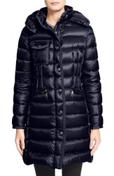 Women's Moncler 'Hermine' Grosgrain Trim Water Resistant Hooded Down Coat Navy