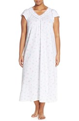 Plus Size Women's Carole Hochman Designs Floral Cotton Long Nightgown Bouquets White