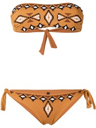 Fisico Embroidered Pattern Bandeau Bikini Brown