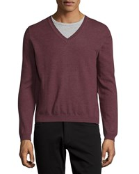 Just Cavalli Long Sleeve V Neck Wool Sweater Brick Men's