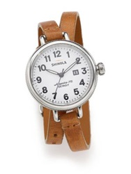 Shinola Birdy Rose Stainless Steel And Leather Double Wrap Watch Tan