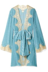 Rosamosario Bellezza D'amare Lace Trimmed Velvet Robe Light Blue
