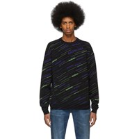 Balenciaga Black And Blue Wool Jacquard Turtleneck