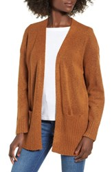 Dreamers By Debut Rib Edged Open Cardigan Camel