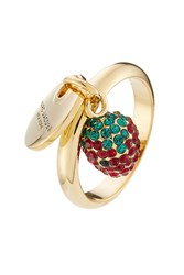 Marc Jacobs Logo Disc And Strawberry Charm Ring Gold