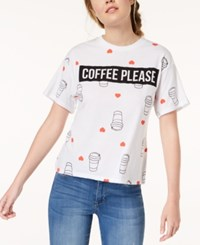 Mighty Fine Might Juniors' Coffee Please Graphic Print T Shirt White