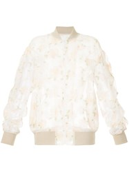 08Sircus Sheer Embroidered Bomber Jacket White
