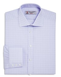 Turnbull And Asser Overcheck Classic Fit Dress Shirt Lilac
