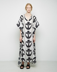 Zero Maria Cornejo Long Printed Sil Dress Black White