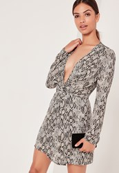 Missguided Silky Plunge Wrap Dresses Snake Print Grey