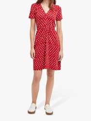French Connection Rossne Dress Cranberry White