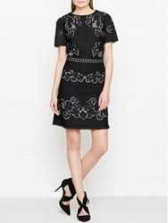Reiss Tinley Lace Panelled Dress Black