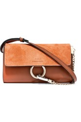 Chloe Faye Mini Leather And Suede Shoulder Bag Brown