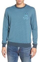 Men's Psycho Bunny 'Sw146' Stripe Crewneck Sweater Gulf Blue