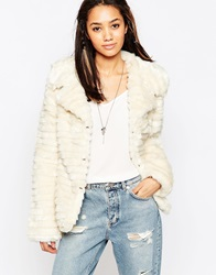 Brave Soul Short Faux Fur Jacket Cream