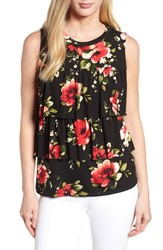 Bobeau Sleeveless Tiered Print Top Black Print