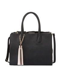 Neiman Marcus Saffiano Faux Leather Tassel Satchel Bag Black