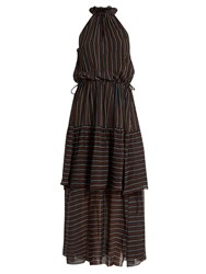 Apiece Apart Pozos Tiers High Neck Dress Black Multi