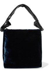 The Row Wander Python Trimmed Velvet Shoulder Bag Midnight Blue
